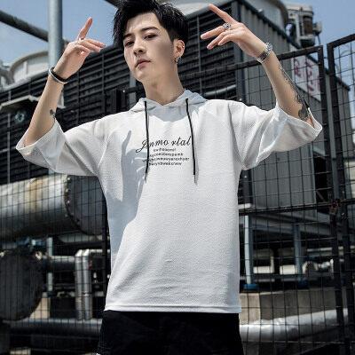 五分七分短袖t恤夏季男士体恤宽松T恤服韩版潮流