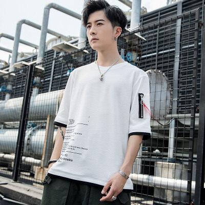 夏季新款韩版t恤短袖男休闲印花T