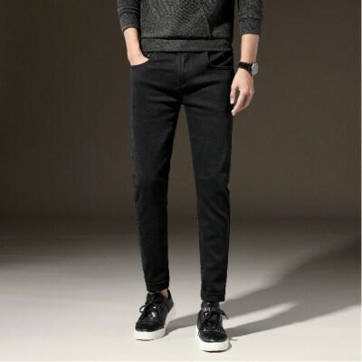 纯黑修身男式牛仔裤弹力牛仔裤男中腰小直筒青年男长裤潮