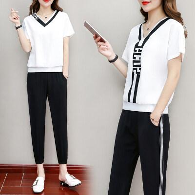 夏季运动套装女新款韩版时尚夏天宽松洋气前后穿休闲跑步服两件套