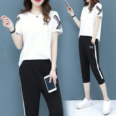 2019夏季新款套装女短袖七分裤两件套休闲运动女套装