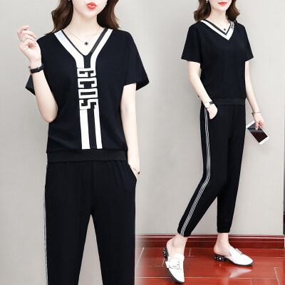 2019夏季新款女短袖套装短袖九分裤休闲时尚两件套夏天女装