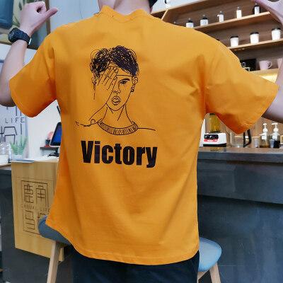 诺阳厂家直销夏季爆款男士纯棉短袖T恤韩版潮流印花圆领休闲纯棉