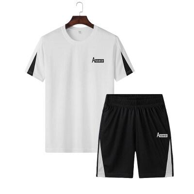 跨境专供夏季男士宽松休闲运动套装男新款短袖裤子拉链M-4XL