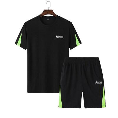 跨境专供夏季宽松大码休闲运动套装男短袖裤子拉链5XL-9XL