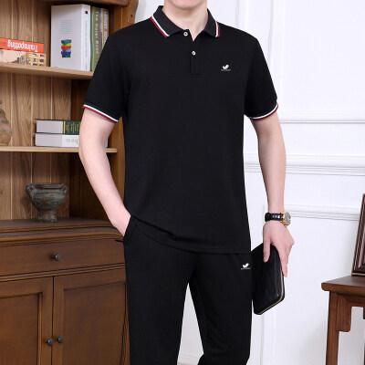 短袖T恤男套装翻领运动套装夏季短袖套装男长袖卫衣男套装