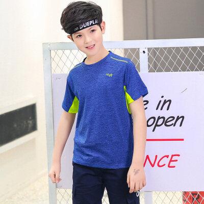 2019夏季儿童速干T恤男童吸湿排汗中大童运动户外服圆领短袖
