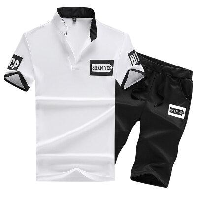 套装男休闲运动套装男箭头套装短袖男短裤男2件套立领polo衫