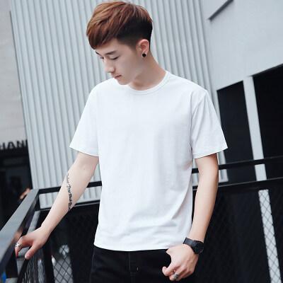 t恤男短袖圆领修身打底衫体恤情侣装夏纯色韩版纯棉95棉5氨纶