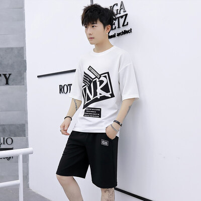 夏季休闲裤运动套装短裤2019新款短袖t桖T恤蚂蚁皱两件套