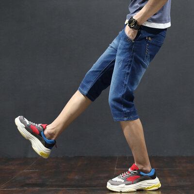 七分牛仔短裤男修身小脚5夏季薄款五分青少年生男孩潮牌弹性7分