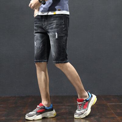 2019夏天薄款牛仔短裤男士七分牛仔裤男生夏季7分裤五分裤中