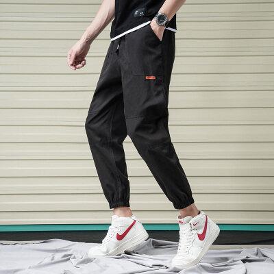 夏季工装裤男韩版潮流修身小脚九分运动束脚裤