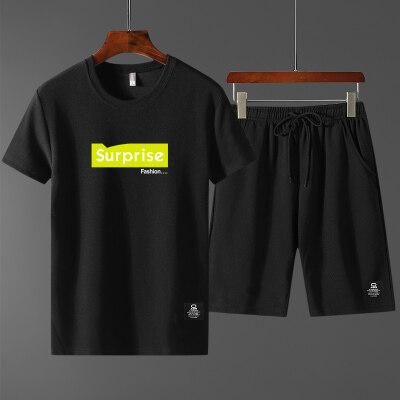 蚂蚁皱2019夏季休闲套装男士薄款圆领短袖T恤青年短款五分裤
