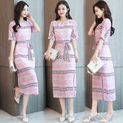 长裙女19夏装新款女装时尚韩版粉色开叉连衣裙显瘦一字领雪纺裙