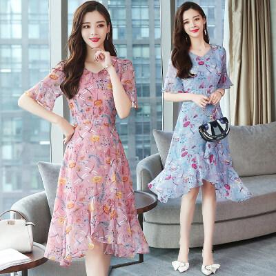 碎花雪纺连衣裙女19夏季新款修身气质显瘦中长款V领荷叶边裙子