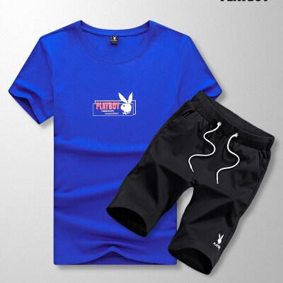 1919TZ花花公子休闲套装男两件套跑步运动短袖T恤帅气潮流