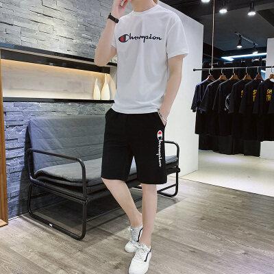 2019新款蚂蚁邹休闲运动套装男夏季短袖短裤男士男装套装运动
