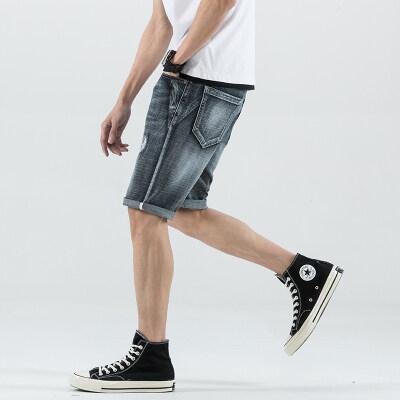 牛仔短裤男潮牌夏季男士休闲中裤韩版破洞夏天薄款五分裤