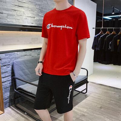 男士夏季短袖t恤套装韩版潮流修身休闲男装半袖两件套青少年衣服