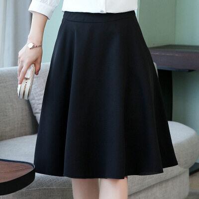 图荣夏季雪纺裙女韩版中长款修身半身裙职业裙黑色太阳裙一件代发