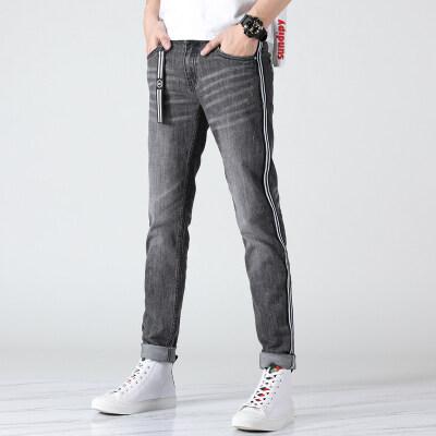 春夏新款时尚条纹修身小脚裤创意系带牛仔裤九分裤