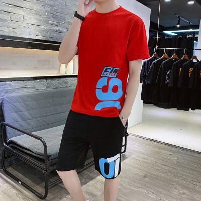 2019新款运动套装男夏季纯棉t桖T恤夏装短袖运动服两件套