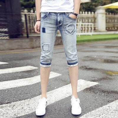 夏季薄款弹力裤短裤牛仔裤男修身7分中裤马裤五分裤子男韩版潮流