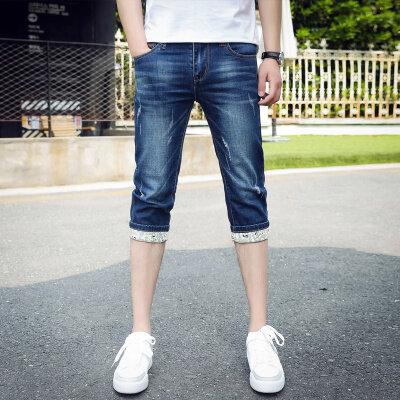 夏季薄款七分裤短裤牛仔裤男修身弹力中裤马裤五分裤子男韩版潮流