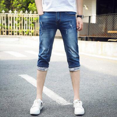 夏季薄款七分裤短裤牛仔裤男修身7分中裤马裤五分裤子男韩版潮流