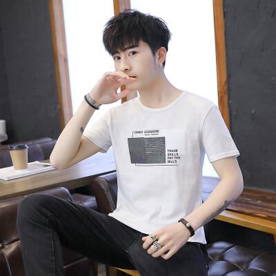 男装2019年夏新款男士短袖t恤潮牌纯棉圆领T恤