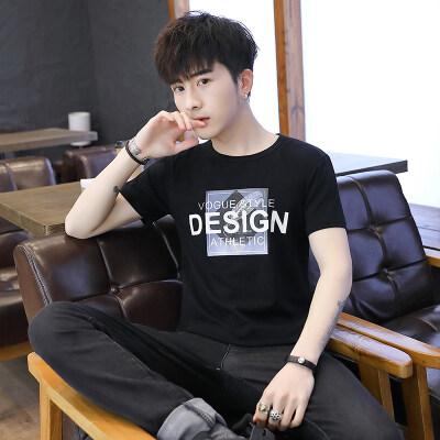 拼多多跑量款短袖T恤男夏季新款男士韩版修身圆领印花百搭潮