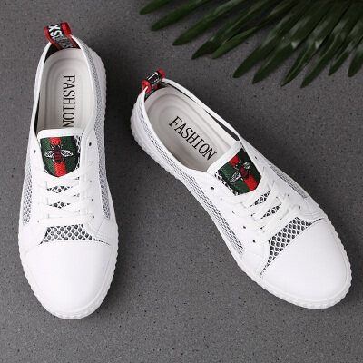 真皮板鞋小白鞋男鞋网面透气休闲鞋时尚潮鞋