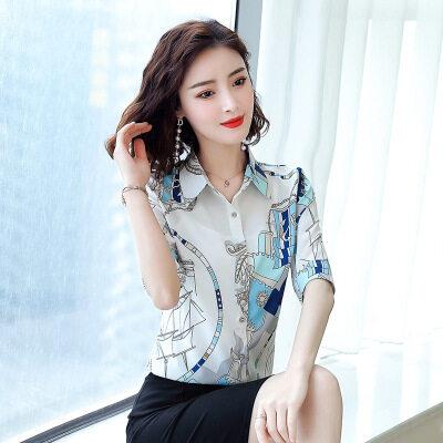 图荣欧美短袖衬衫女夏季款时尚翻领印花上衣修身显瘦女装一件代发