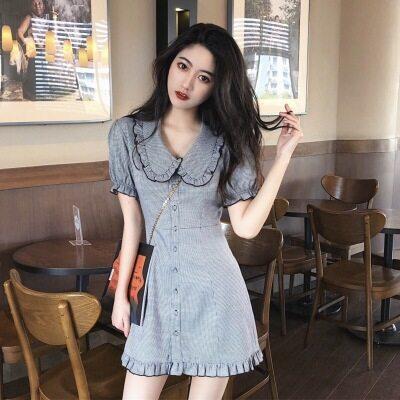 阔太太连衣裙短袖洋气收腰甜美名媛气质时髦超仙韩版时尚优雅短款