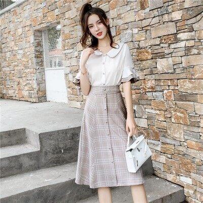 2019夏季新款女式晚晚风时尚高腰A字半身裙+衬衫两件套套装