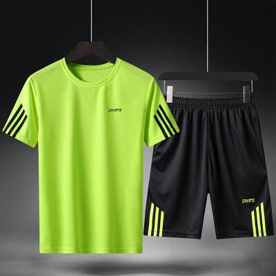 牧比斯运动套装男夏季跑步休闲健身运动服两件套新品速干运动男装