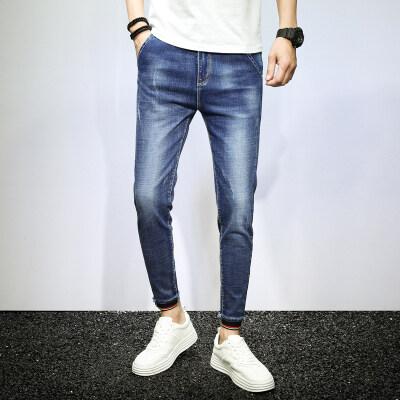 男士牛仔裤修身小脚裤子难韩版潮流九分裤难学生签收束脚弹力薄款