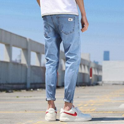 薄款夏季牛仔裤男新款修身弹力九分裤小脚裤男士9分裤子韩版潮流