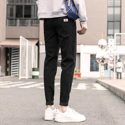 秋季潮牌牛仔裤男修身小脚裤子男韩版潮流男士休闲牛子裤男秋冬款