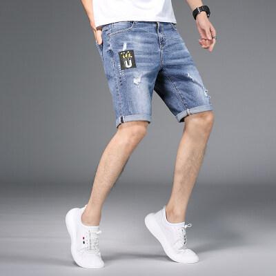 夏季薄款高弹力5分牛仔短裤男修身直筒弹性五分中裤子大码潮男装