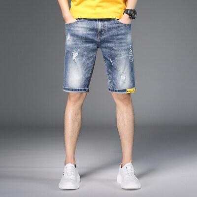 男士牛仔短裤男 五分裤夏季薄款宽松牛仔中裤男韩版潮