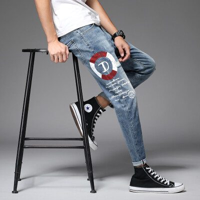 九分牛仔裤男潮牌夏季薄款修身小脚弹力韩版潮流男士休闲裤子男裤