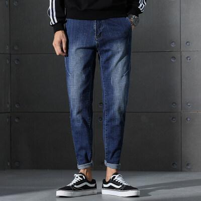 春夏款男士时尚纯色牛仔裤修身弹力九分裤