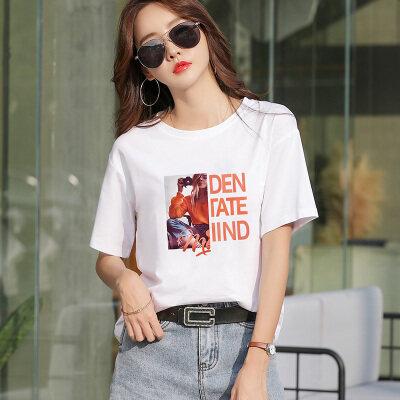 100%纯棉不起球新款不下架网红同款韩版宽松印花短袖t恤女