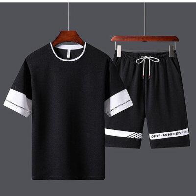 套装男士短袖t恤潮牌潮流夏季一套帅气运动休闲夏装短裤两件套男
