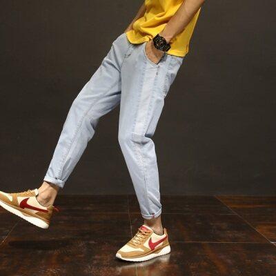 春夏新款男士潮流时尚纯色拼料牛仔裤修身哈伦