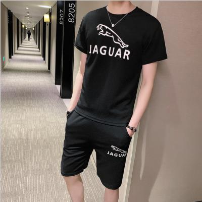 短袖男t恤夏季短裤两件套韩版修身五分裤青年潮套装印花休闲男装