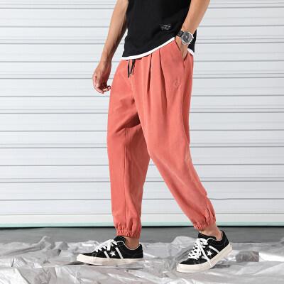 语克爆款裤子男士宽松潮流夏季薄款束脚裤哈伦裤九分裤休闲裤