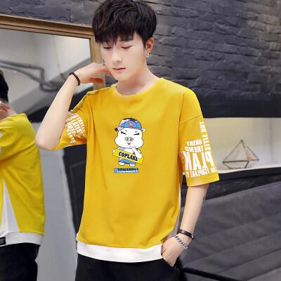 夏季男士短袖T恤2019新款潮流t恤五分袖男装半袖上衣服潮牌